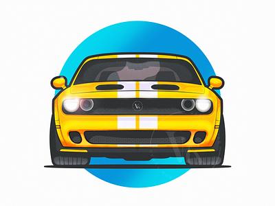 Dodge! shine texture illustration vehicle dope race blue lights yellow clean minimal motorsport auto automobile car challenger dodge