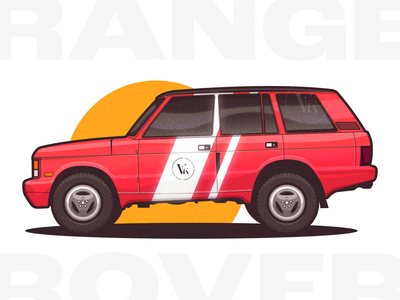Range Rover Classic glow texture vehicle dope motorsport illustration suv automobile wheels alloys tires profile sunset red car classic range rover