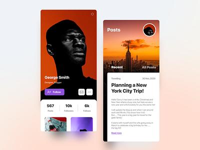 Blogger mobile designer artist blogger blog new york nyc person black profile blur sketch figma design card flat ux ui ios android