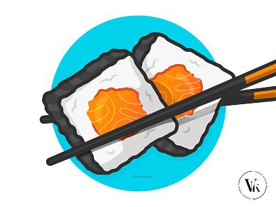 Digital Sushi food yummy asian seafood blue tutorial youtube process flat illustration illustrator vector salmon chopsticks japanese sushi