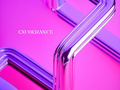 Exuberance 5 surreal minimal contrast pink branding logo c4d render 3d octane blender pipes tube