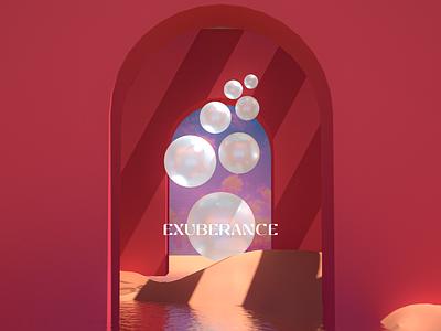 Exuberance IX doors design branding abstract seren sky water glow arch red architecture octane c4d blender render 3d