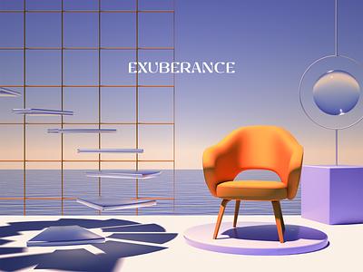 Exuberance X branding background design scene floating landscape water orange sofa abstract c4d blender render 3d