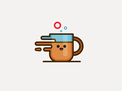 Coffee cafe icon minimal smile illustration liquid flat happy face tea cup mug coffee