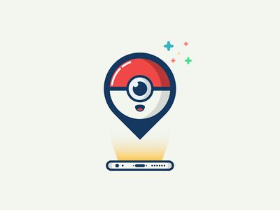 Pokemon GPS minion logo minimal iphone catch em all signal location gps illustration pokemon