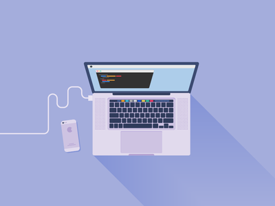 Macbook apple computer touch bar minimal coding illustration vector iphone pro macbook