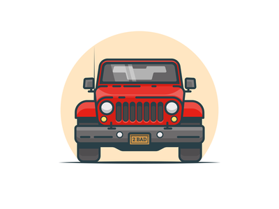 Wrangler truck off road jeep vehicle flat illustration car red automobile 4x4 simple vector