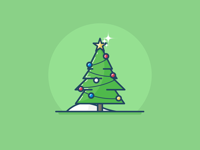 Christmas Tree vector illustration celebration christmas snow tree minimal gifts house december new year 2017