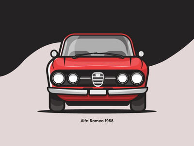 Alfa Romeo 1968 vintage alfa romeo red vehicle flat illustration car retro automobile small simple vector