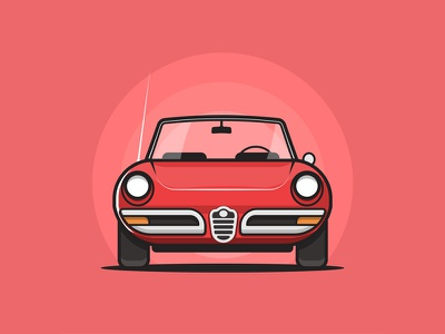 Alfa Romeo 1969 vector simple small automobile retro car illustration flat vehicle red alfa romeo vintage