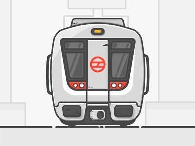 Delhi Metro train railways red vehicle flat illustration metro indian automobile simple vector delhi