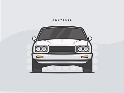 Contessa vector simple small automobile 70s car illustration flat vehicle shine vintage contessa