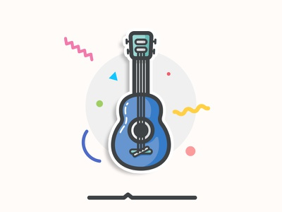Guitar Sticker minimal flat shapes vector icon blue instrumental musical banjo sticker playoff guitar