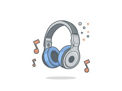 Headphones illustration icon notes beats blue songs line art minimal headphones music