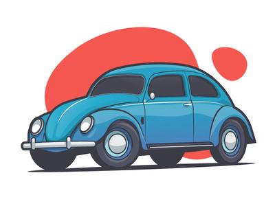 Beetle volkswagen small vector sport fast auto illustration stroke flat car beetle