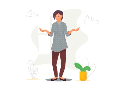 Woman leaves glasses face vector window plant cloth female pose sigh character woman