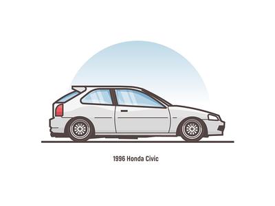 Honda Civic 1996 1996 civic small vector sport auto illustration stroke flat car honda