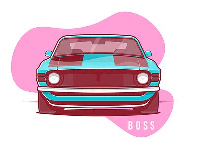 Mustang Boss 1970 Front small vector sport fast auto illustration stroke flat car mustang