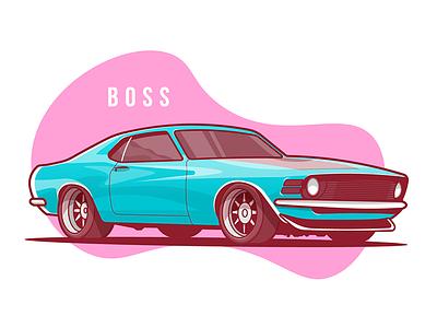 Mustang Boss 1970 Side mustang car flat stroke illustration auto fast sport vector small