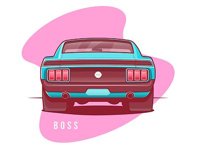 Mustang Boss 1970 Rear mustang car flat stroke illustration auto fast sport vector small