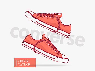 Converse illustration vector shoes kicks sneakers illustrator icon ui game line nike tennis