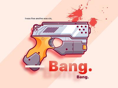 Bang Bang! typography shoot halo arms blood minimal ui flat illustrator future gun