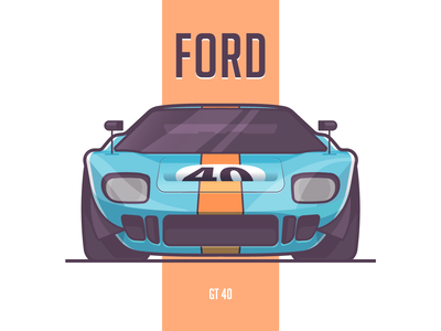 Ford Gt40 classic gulf ford vector stroke sport small gt40 illustration flat fast car auto