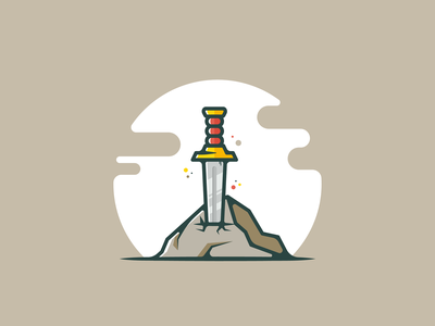 Sword! minimal vector design logo mythological stone rock knife king arthur sword illustration
