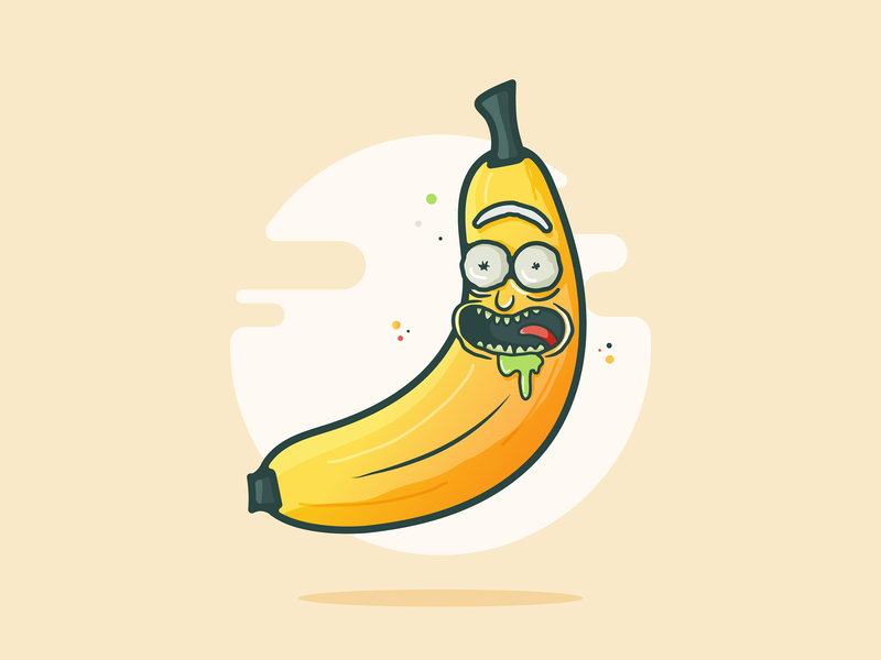 BANANA Rick!! netflix funny logo design drool vector illustration yellow sun pickle banana rick and morty morty rick