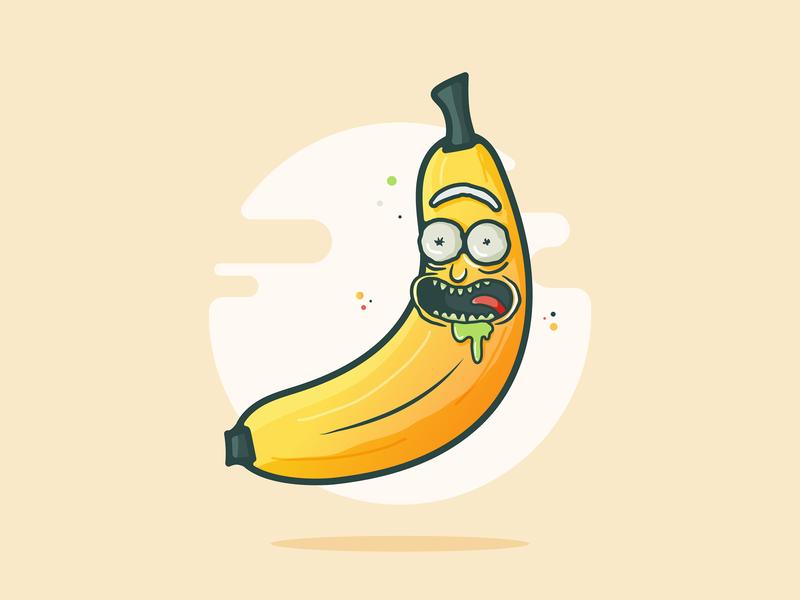 BANANA Rick!! netflix funny logo design drool vector illustration yellow sun pickle banana rick and morty morty rick