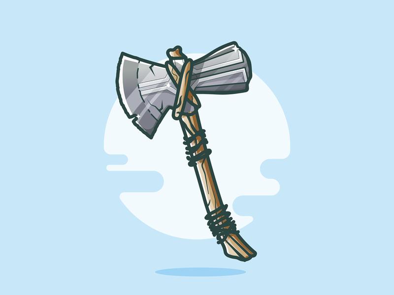 Stormbreaker! weapon vector sun movie cartoon avengers hammer stormbreaker logo illustration axe marvel design thor