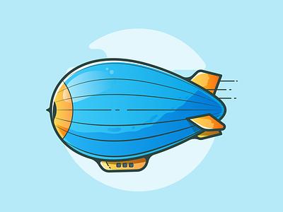 Zeppelin clouds sky illustration design travelling flying orange blue balloon zeppelin