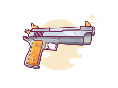 Pistol texture colors play yellow wooden pistol weapon gun vector illustration fortnite