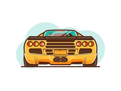 SSC Ultimate Aero! vector tires ass lights design illustration fast speed yellow rear car aero ultimate ssc