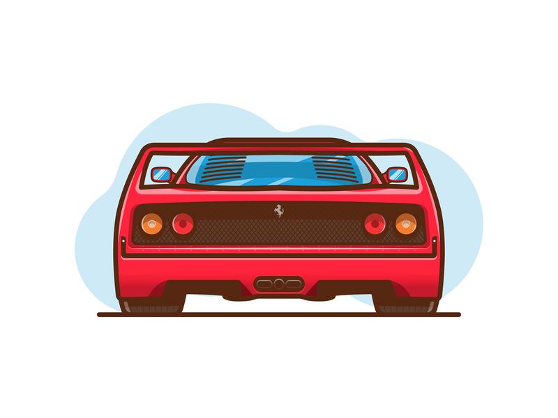 Ferrari F40 flat design minimal bumper rear illustration fast speed supercar red f40 ferrari