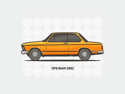 BMW lights design minimal vehicle auto side orange 70s 1970 vintage car illustration bmw