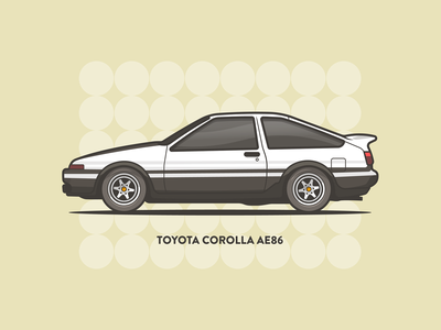 Toyota Corolla AE86 daily art illustrator minimal stroke speed auto car 80s vintage corolla toyota illustration