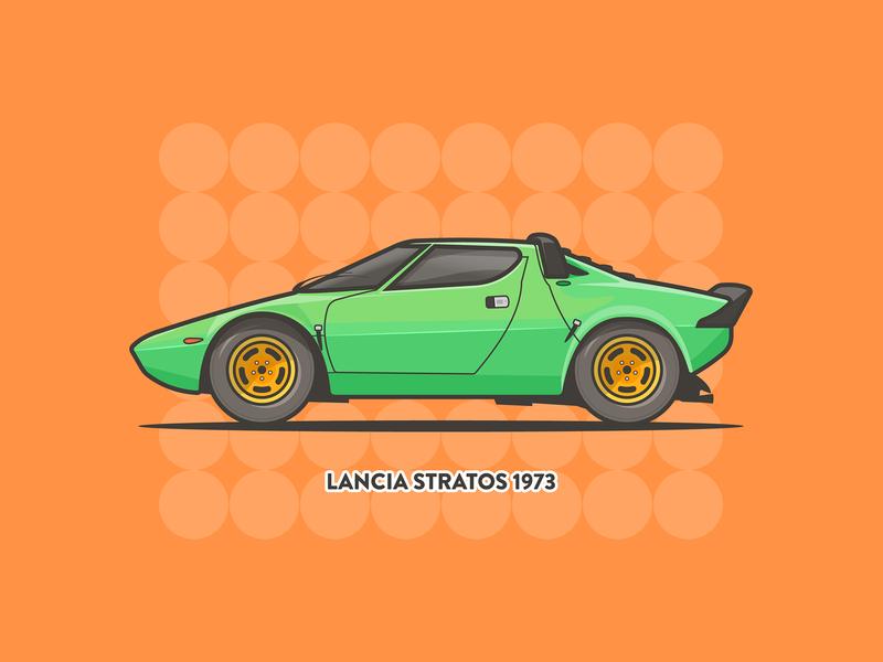 Lancia Strotas! stroke minimal vector car daily art hf 70s green orange strotas lancia illustration