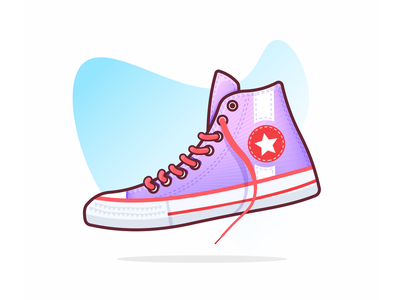 Converse design illustration vector floating blue star laces sneakers kicks red shoes pink converse