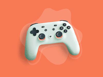 Stadia illustration ps4 xboz joystick 2019 minimal brush texture ipad pro procreate sketch games cloud cloud gaming stadia google gaming controller