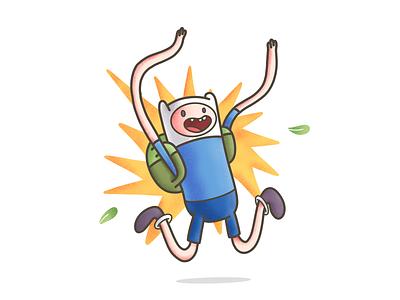 Finn from Adventure Time! procreate app ipad pro procreate grunge texture art illustration design teeth happy fun character cute finn bag time adventure adventure time jake and finn