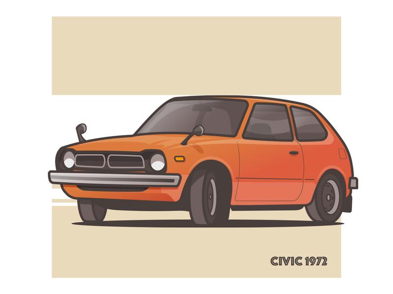 Civic '72 70s civic honda illustrator vintage speed stroke minimal car illustration daily art