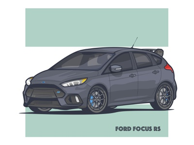 Ford Focus RS! cool dark supercar focus ford illustrator vintage speed stroke minimal car illustration daily art