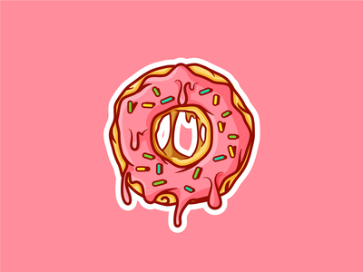 Dripping Donut! dripping illustrator yummy round illustration glazed cream sprinkles sweet dessert donut