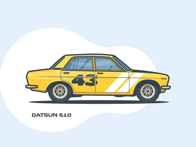 Datsun 510 illustration minmal vintage vehicle tires side retro popular yellow datsun stroke flat design daily art cool car