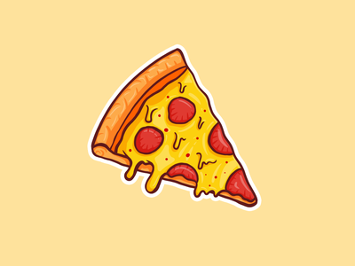 Cheezy Pizza 🍕 ipad pro illustration hot fresh doodle procreate delicious dripping pepperoni yellow cheese pizza