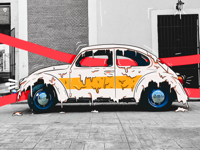 Drippy Beetle! illustration yellow red ipad pro procreate doodle car melting dripping beetle