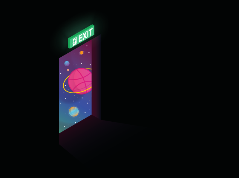 Space Exit (Also, Hello!) abstract hello dribble exit planets space illustrator vector design illustration
