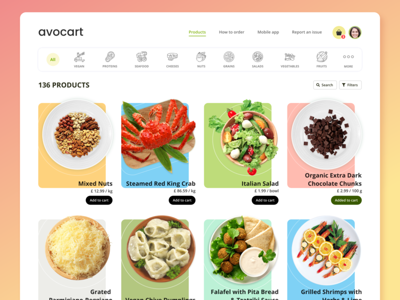 Avocart - Product List uiux ux ui product list online shopping online store uxdesign ui design ui  ux product design organic food product page avocado