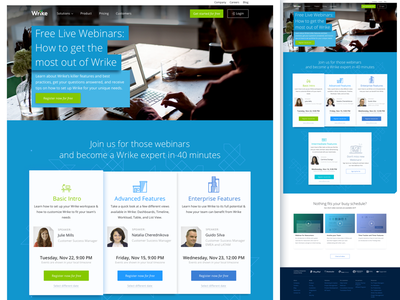 Wrike. Webinar page redesign. website page marketing landing interface grid front-end design webinar wrike